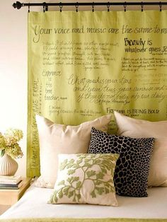 Hang a curtain as wall décor after stenciling sayings or anything in paint or sharpie