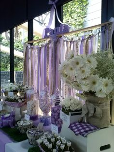 The way ribbon is hung. Can wrap florals around pipe and drape bar too