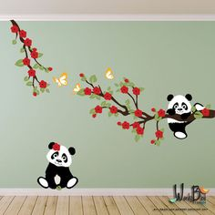 Pandas and Cherry Blossom Branches with Butterflies, Panda Decal, Panda Vinyl Wall Decal for Nursery, Kids, Childrens Room