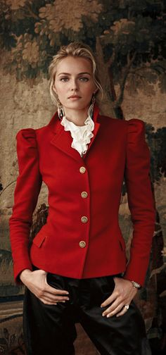 Love this style of jacket within the ruffles peaking out of the neckline ~ classic style!