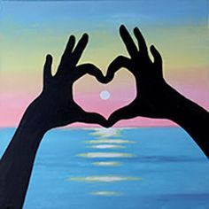 """""""Sunset Love"""" canvas painting design -  Let someone know you care by painting this fun, silhouette design. The heart looks even warmer with the setting sun behind it. CANVAS SIZE:  12"""" x 12"""" TIME TO PAINT:  approximately 1 hour 30 minutes TECHNIQUES INCLUDE: blending colors, dry brush blending, which brushes to use to get straight edges"""