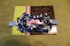 steampunk blue and white stripe pink by CraftyAshBowsnMore on Etsy, $7.50