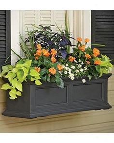 Nice window box structure... would do red flowers or the greens and purples like mom did