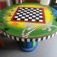 Hand Painted spool table Hand Painted spoo… – Tables and desk ideas Cable Spool Tables, Wooden Cable Spools, Wire Spool, Pallet Furniture, Painted Furniture, Furniture Ideas, Pallet Bench, Pallet Shelves, Bedroom Furniture