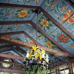 Norwegian style rosemaling ceiling. Oh PLEASE someone come do this to my walls or ceilings!!