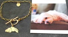 Custom TaGette Charm Chain Bracelet .. Brass Pet Portrait Dog silhouette Jewelry…