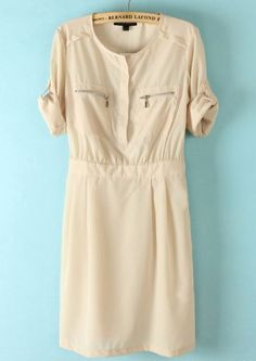 Nude Half Sleeve Zipper Bandeau Chiffon Dress pictures