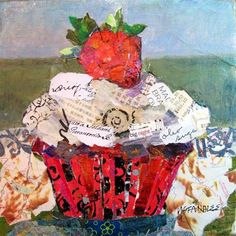 """Cupcake Torn Paper Collage, Big Night 12083"" - Original Fine Art for Sale - © Nancy Standlee"