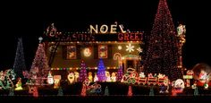 Dazzling Christmas Light on House Exterior Design for Charming Look Image Luminous Home Facade Exterior Design With Romantic Christmas Lights On House In Colorful Shades Along With Massive Christmas Tree Beside Spacious Green Grass Garden Photograph. Christmas Wallpaper