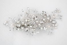 Bridal Hair Clip of Rhinestone and Pearl Sprays from Cassandra Lynne
