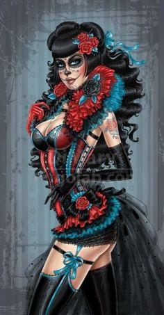 26 Trendy Tattoo Girl Drawing Pin Up Sugar Skull Tattoo Girls, Pin Up Girl Tattoo, Pin Up Tattoos, Girl Tattoos, Sun Tattoos, Sleeve Tattoos, Day Of The Dead Girl, Day Of The Dead Skull, Tribal Tattoos