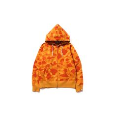 Color Camo Full Zip Hoodie featuring polyvore, women's fashion, clothing, tops, hoodies, camouflage hoodies, camouflage hooded sweatshirts, full zip hoodie, camo hoodies and orange hoodie