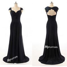 Black Cap Sleeves Chiffon Long Bridesmaid Gown With Cut Out Back – mypuffgirl
