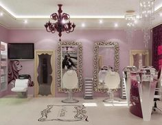 salão de beleza pequeno decorado rosa chique