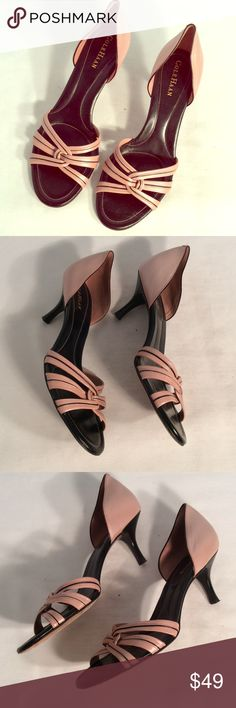 Cole Haan pink leather heels Cole Haan pink black trim leather heels excellent high quality shoe with no damage heel height of 3 inches Cole Haan Shoes Heels