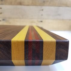 Cutting Board 11x16 Walnut with Bloodwood and Yellowheart Accent (Gifts House warming Christmas Wedding Holidays Chef Kitchen Food Serving) by MWAWoodworks on Etsy