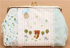 Rilakkuma bear tree linen pencil case lace application San-X €18.50