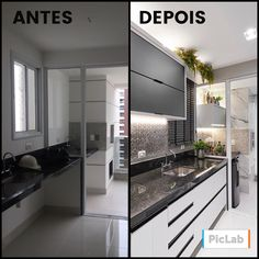 Amazing transformation over here! Cold neutral kitchen, wonderful, right? - Design Cointrend News Kitchen Interior, Interior Design Living Room, Living Room Decor, Kitchen Decor, Kitchen Design, Neutral Kitchen, Interior Design Boards, Building A New Home, Home Staging