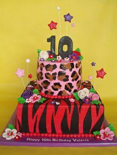 Super Girlie Animal Print Birthday Cake