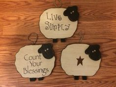 Primitive Wood Sheep Wall Sign Decor by RDPrimitiveHomeDecor