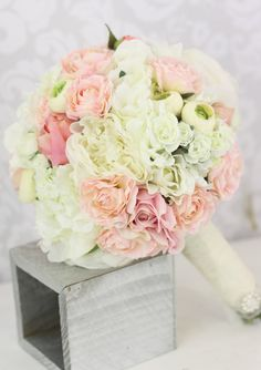 Silk Bride Bouquet Peony Flowers Pink Cream Spring Mix Shabby Chic Wedding Decor. $99.00, via Etsy.