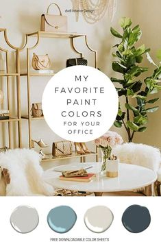 (+ free download ) Looking for some great paint colors? I'm sharing all of my must-try favorites plus a free download of our color charts. You just might find your perfect color! For All Things Lovely, Office Paint Colors, Favorite Paint Colors, Calming Colors, Office Interior Design, Color Charts, Decorating Your Home, Decorating Ideas, Painting