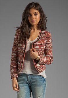 MAISON SCOTCH Tweed Blazer in Aztec Print