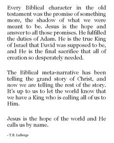 Every Biblical character in the old testament was the promise of something more, the shadow of what we were meant to be. Jesus is the hope and answer to all those promises, He fulfilled the duties of Adam, He is the true King of Israel that David was supp Bible Verses Quotes, Jesus Quotes, Faith Quotes, Scriptures, Christian Life, Christian Quotes, Jesus Freak, Love The Lord, Lord And Savior