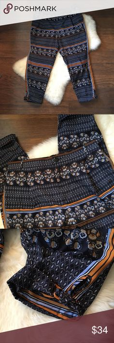Elevenses Aralia print pants Elevenses - Anthropologie  Printed pants  Size 8  Navy, orange, white   🚭 Comes from a smoke-free home  🍀 No rips, tears, or stains 🦋 Excellent used condition Anthropologie Pants Ankle & Cropped