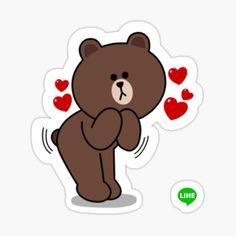 Artwork Fantasy, Cony Brown, Cute Couple Cartoon, Cute Love Gif, Bear Wallpaper, Line Friends, Love Stickers, Kawaii Cute, Cute Cards