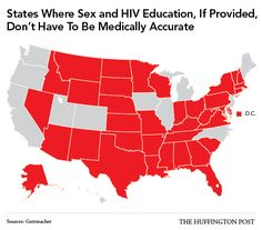 States where Sex and HIV Education, If Provided, Don't Have to Be Medically Accurate  Source: Guttmacher Institute
