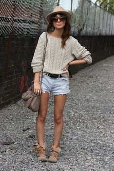 comfy fall look...shorts and sweater and hat