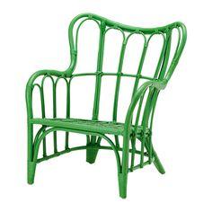 IKEA - NIPPRIG 2015, Sessel, grün, , Stapelbar - spart Platz, wenn nicht in Gebrauch.Möbel aus Naturmaterial sind leicht, dennoch stabil und langlebig.Kunststoffkappen beugen Kratzern auf dem Fußboden vor.