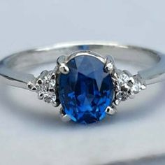 3.00 Ct Oval Blue Sapphire Three stone Engagement Ring 14K White Gold Finish | eBay Ceylon Sapphire Ring, Blue Sapphire Rings, Sapphire Color, Three Stone Engagement Rings, Diamond Cluster Ring, Diamond Sizes, Weeding, White Gold Rings, Pure Products