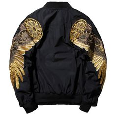Black Angel Wing Embroidery Bomber Jacket