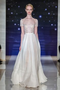 Reem Acra Bridal Spring 2016 Look 12 Embroidered Chantilly cream lace dress with full silk chiffon sweep skirt Reem Acra Wedding Dress, Reem Acra Bridal, 2016 Wedding Dresses, Bridal Dresses, Wedding Gowns, Wedding Attire, Wedding Bells, Wedding Bride, Bridesmaid Dresses