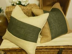 Burlap Two Toned Pillow Covers!  http://www.TheRusticTwigUS.etsy.com