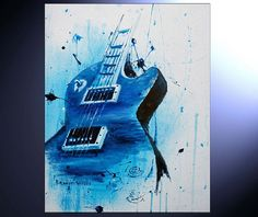 Abstract Guitar Painting  Acrylic Splash by BrandtWoodsStudios, $40.00 20x30 in.