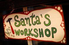 Santa Workshop sign from cardboard Christmas Program, Christmas Signs, Christmas Projects, Vintage Christmas, Christmas Crafts, Christmas Door, Outdoor Christmas, Christmas Stuff, Santa's Workshop Sign