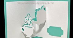 How to make a pop up card featuring a teapot and a cup of tea. Includes paper craft cut files in DXF, PDF, SVG, and Silhouette Studio formats.