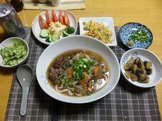 2013/05/17  Japanese Udon、Tenpura、Potato salad.肉うどん、かき揚げ天、ポテトサラダ