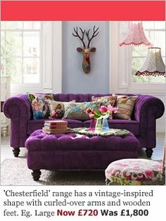 Purple Velvet Sofa With Colourful Cushions, Wow!