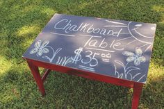 SHABBY CHIC DISTRESSED CHALKBOARD TABLE FROM VINTAGE VISION FURNITURE IN HUDSON, NC.  SEE MORE AT:  http://www.facebook.com/vintagevisionstore
