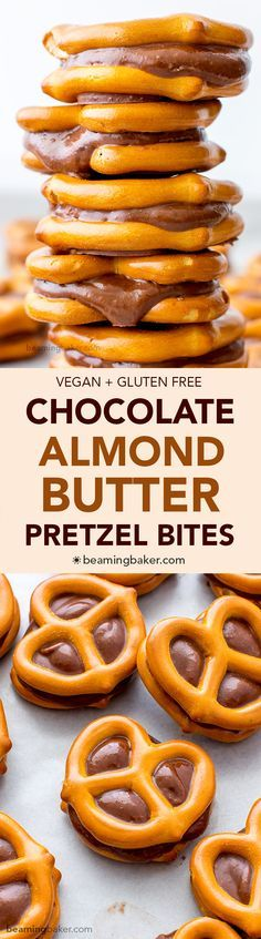 Chocolate Almond Butter Pretzel Bites (V+GF): an easy 3 ingredient recipe for a sweet snack packed full of protein and chocolate flavor. #Vegan #GlutenFree | BeamingBaker.com