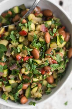 Cumin Zucchini Salad with Pinto Beans and Roasted Red Peppers