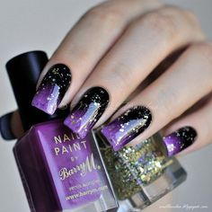 Black and purple nails, Bold nails, Bright gel polish for nails, Contrast nails, Disco nail, Glitter nails, Gradient nails 2016, Nails ideas 2016