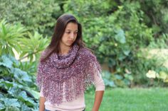 Knit hood cowl hooded neck warmer with fringes by ettygeller, $34.00