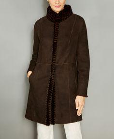 The Fur Vault Mink-Fur-Trim Shearling Lamb Coat