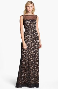 Tadashi Shoji Illusion Yoke Lace Gown available at #Nordstrom