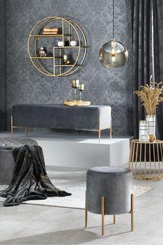 Sommerkollektion Golden Home, Stilthema, Interior Decorating, Interior Design, Living Room Grey, Living Room Designs, Modern, Home, Gray, Ideas, Corridor